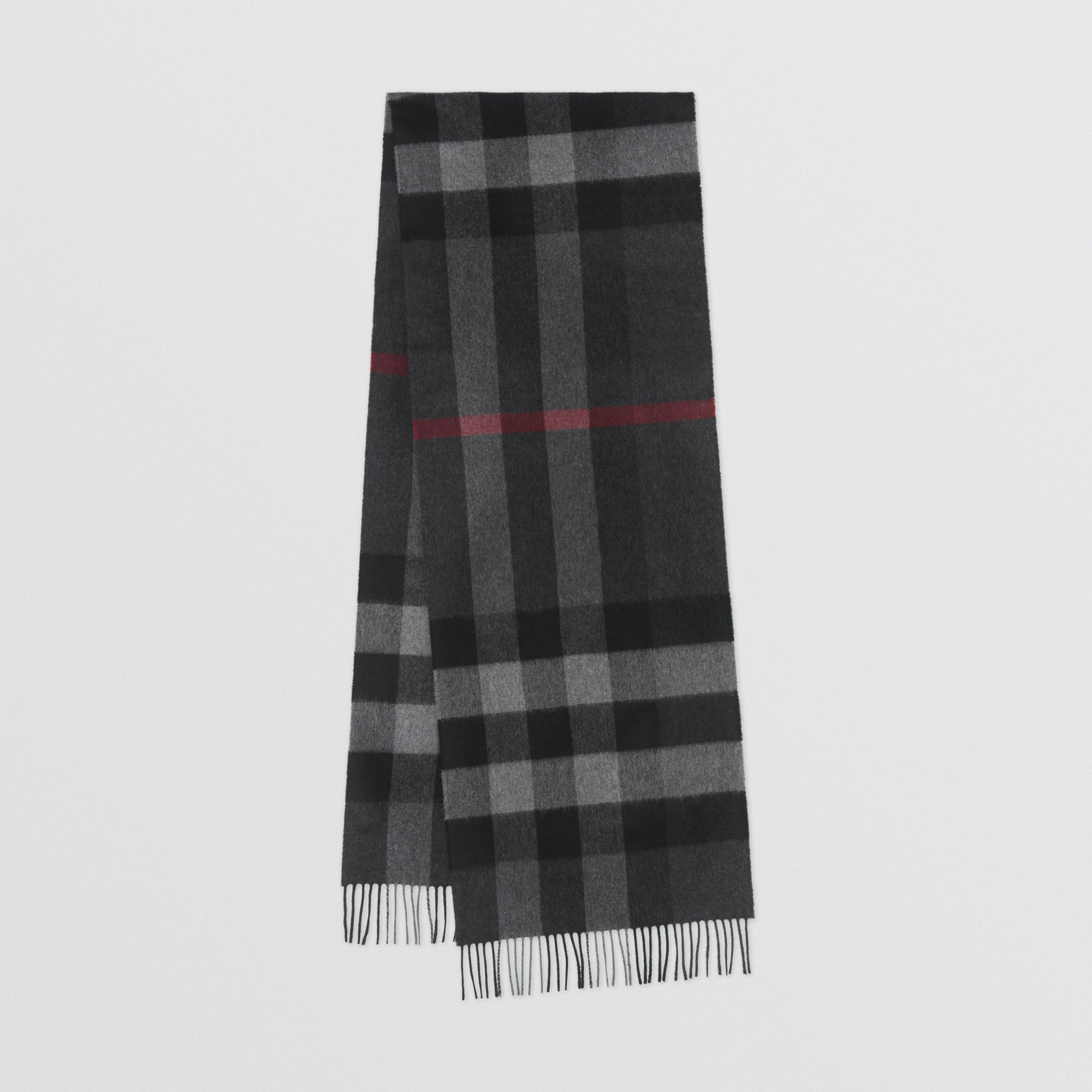 Check Cashmere Scarf in Charcoal | Burberry - 1