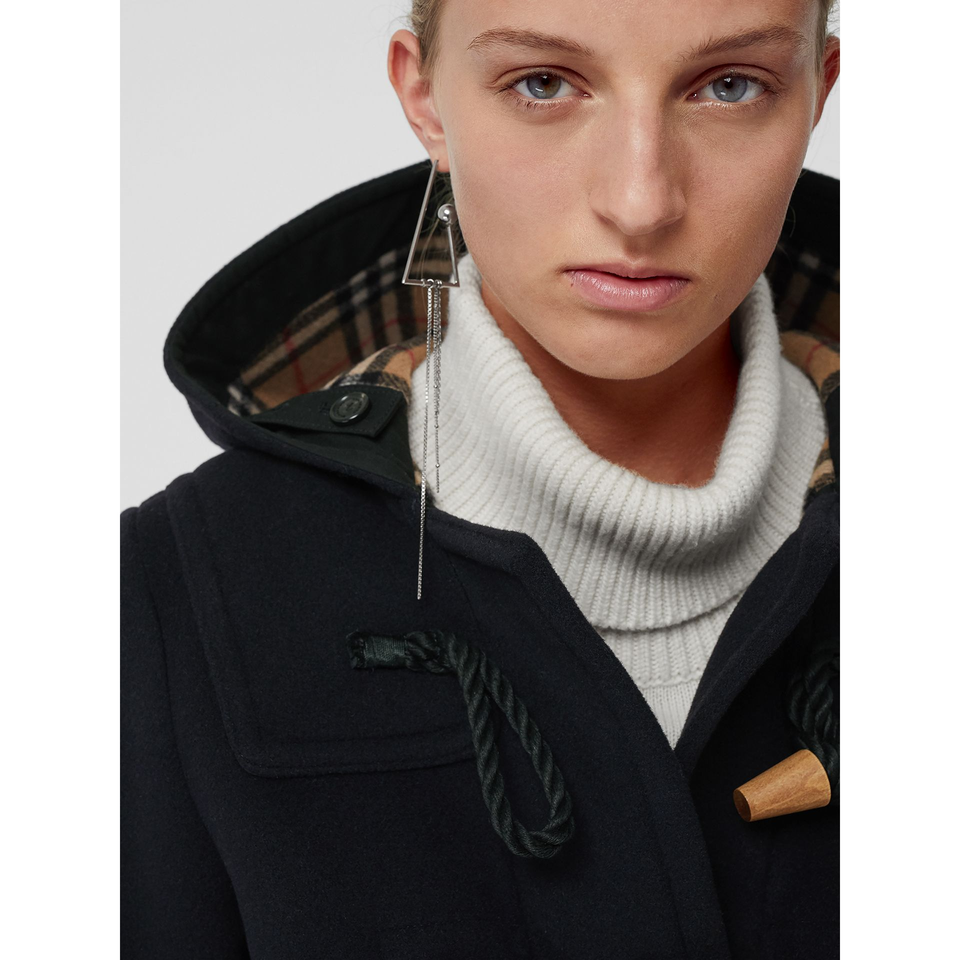 Wool Blend Oversized Duffle Coat in Navy - Women | Burberry - gallery image 4