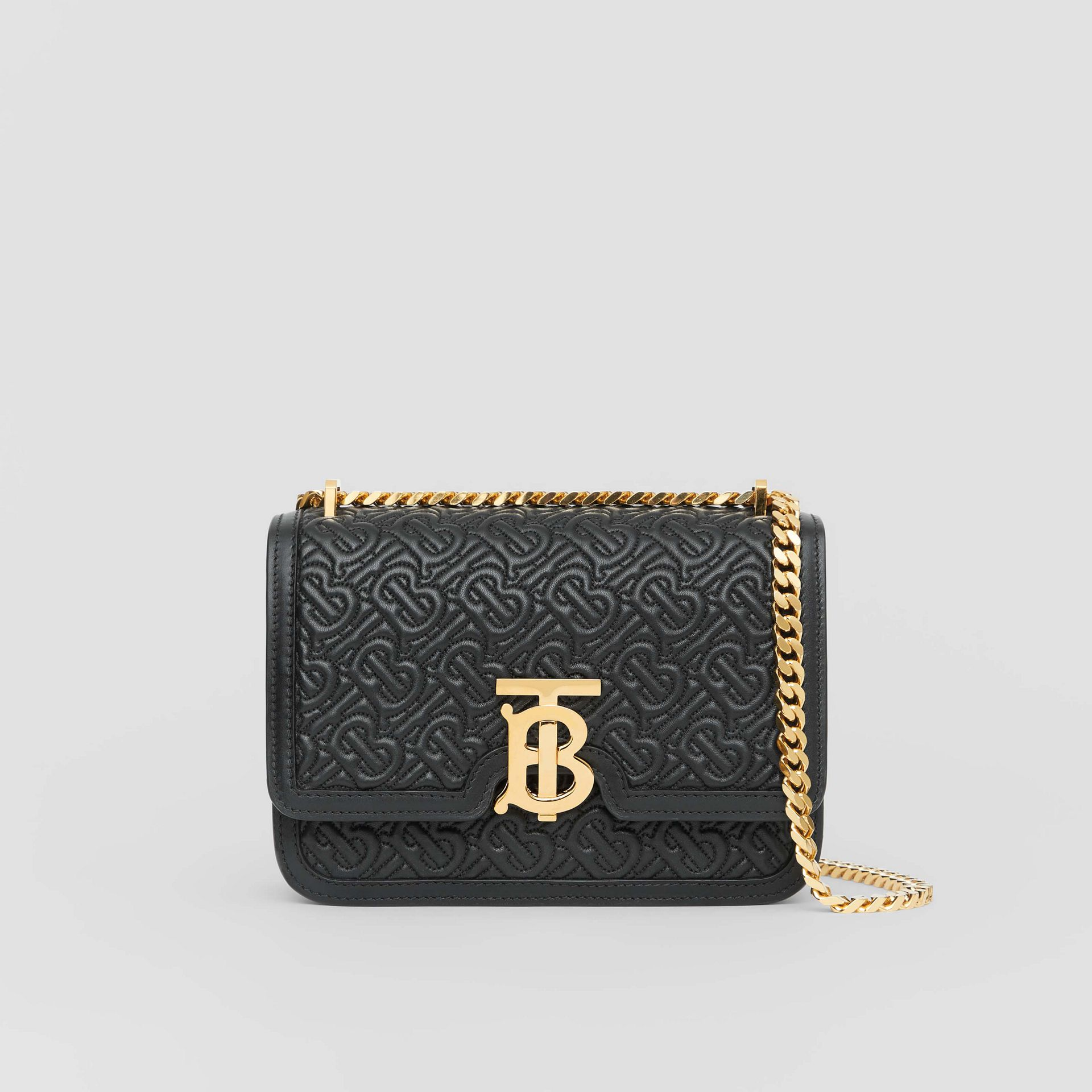 Bolsa TB de couro de cordeiro com monograma - Pequena (Preto) - Mulheres | Burberry - galeria de imagens 0