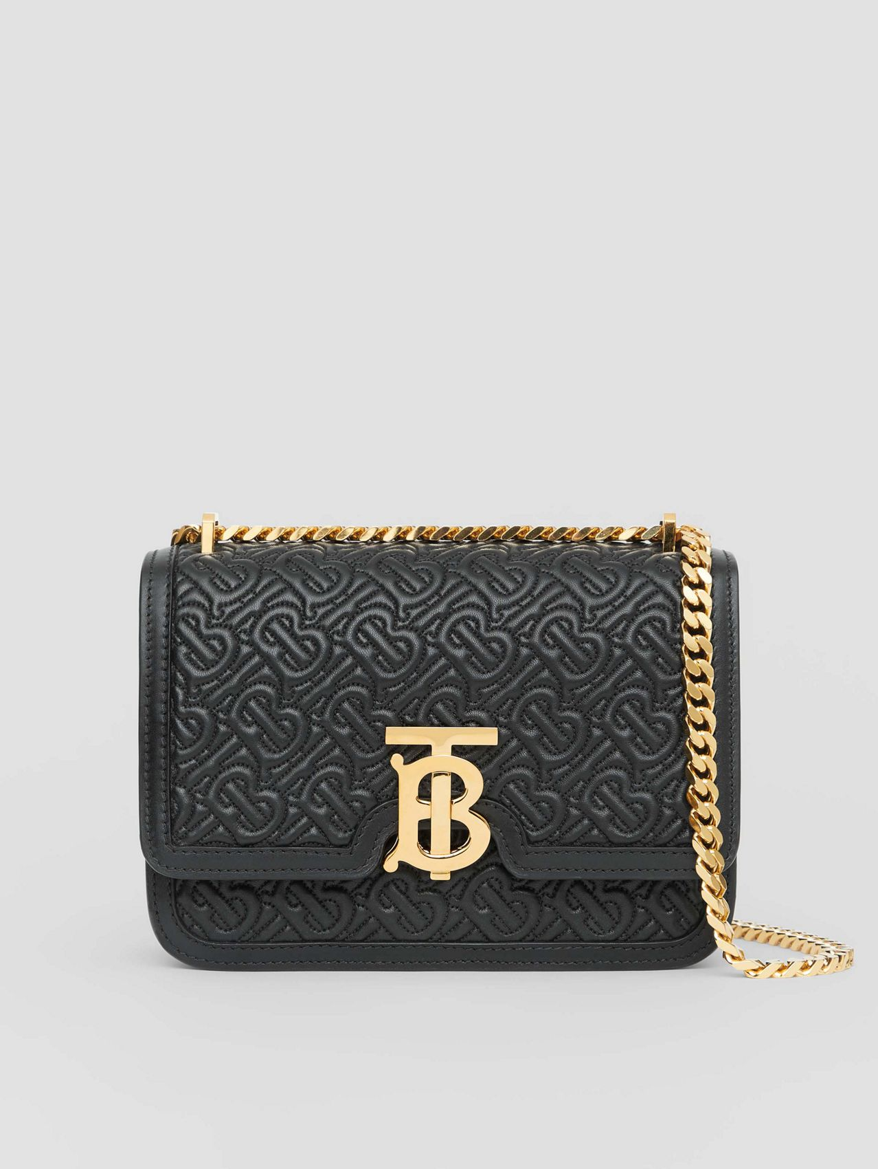 Small Quilted Monogram Lambskin TB Bag in Black