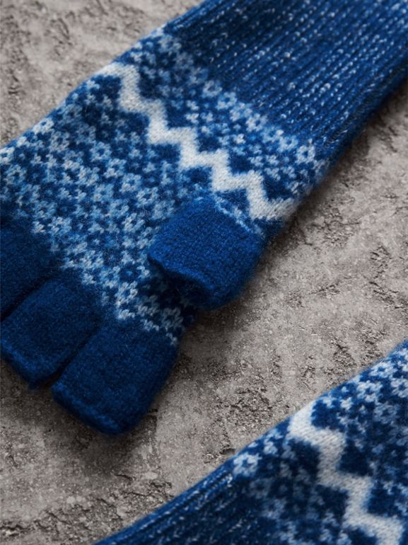 Fair Isle Cashmere Fingerless Gloves in Cobalt Blue | Burberry - cell image 1
