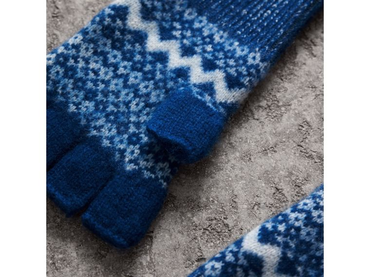 Fair Isle Cashmere Fingerless Gloves in Cobalt Blue | Burberry Hong Kong - cell image 1