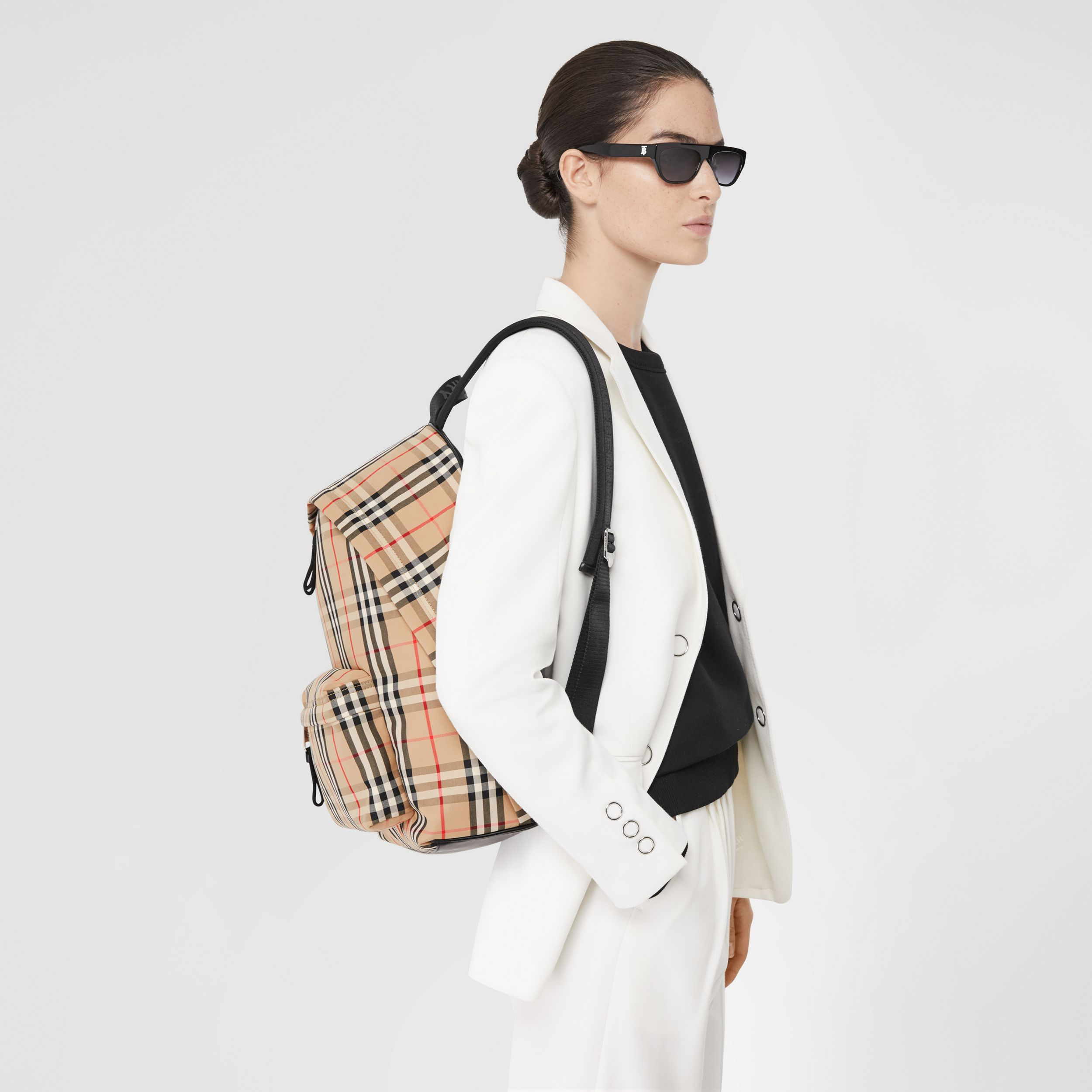 Vintage Check Nylon Backpack in Archive Beige | Burberry - 3