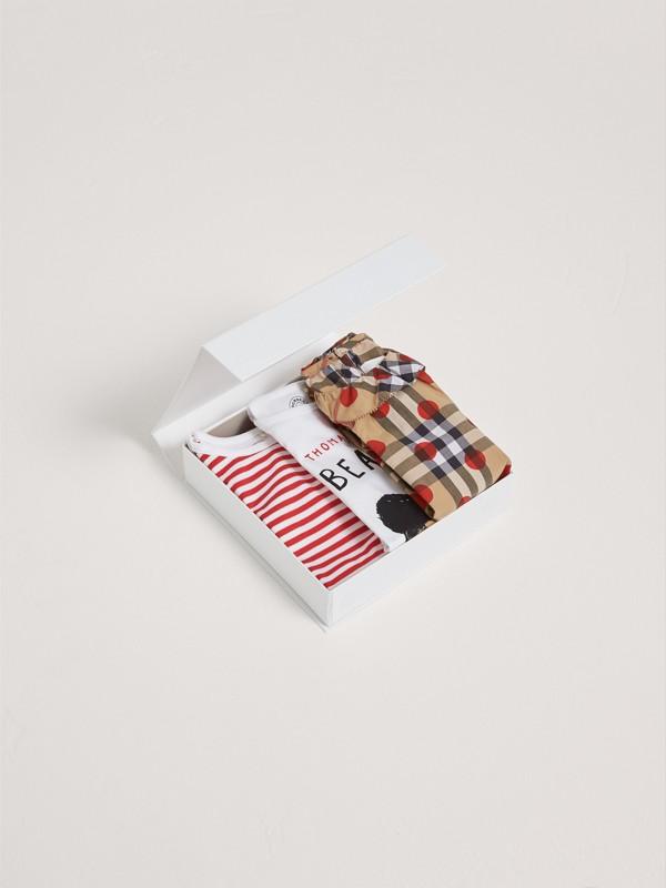 Gift set de três peças de algodão (Vermelho Militar) | Burberry - cell image 2