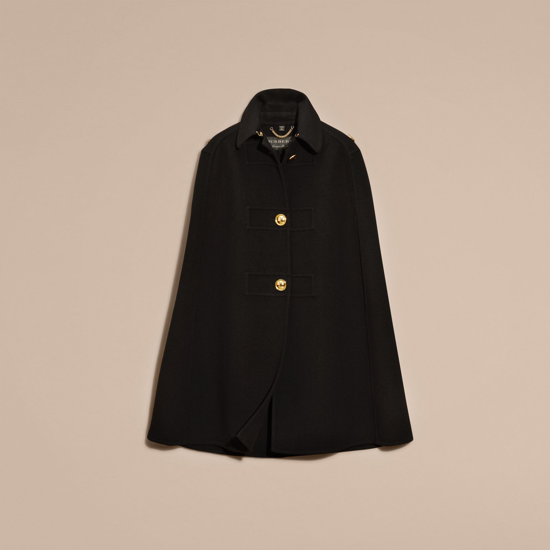 Black Double Cashmere Military Cape - gallery image 4