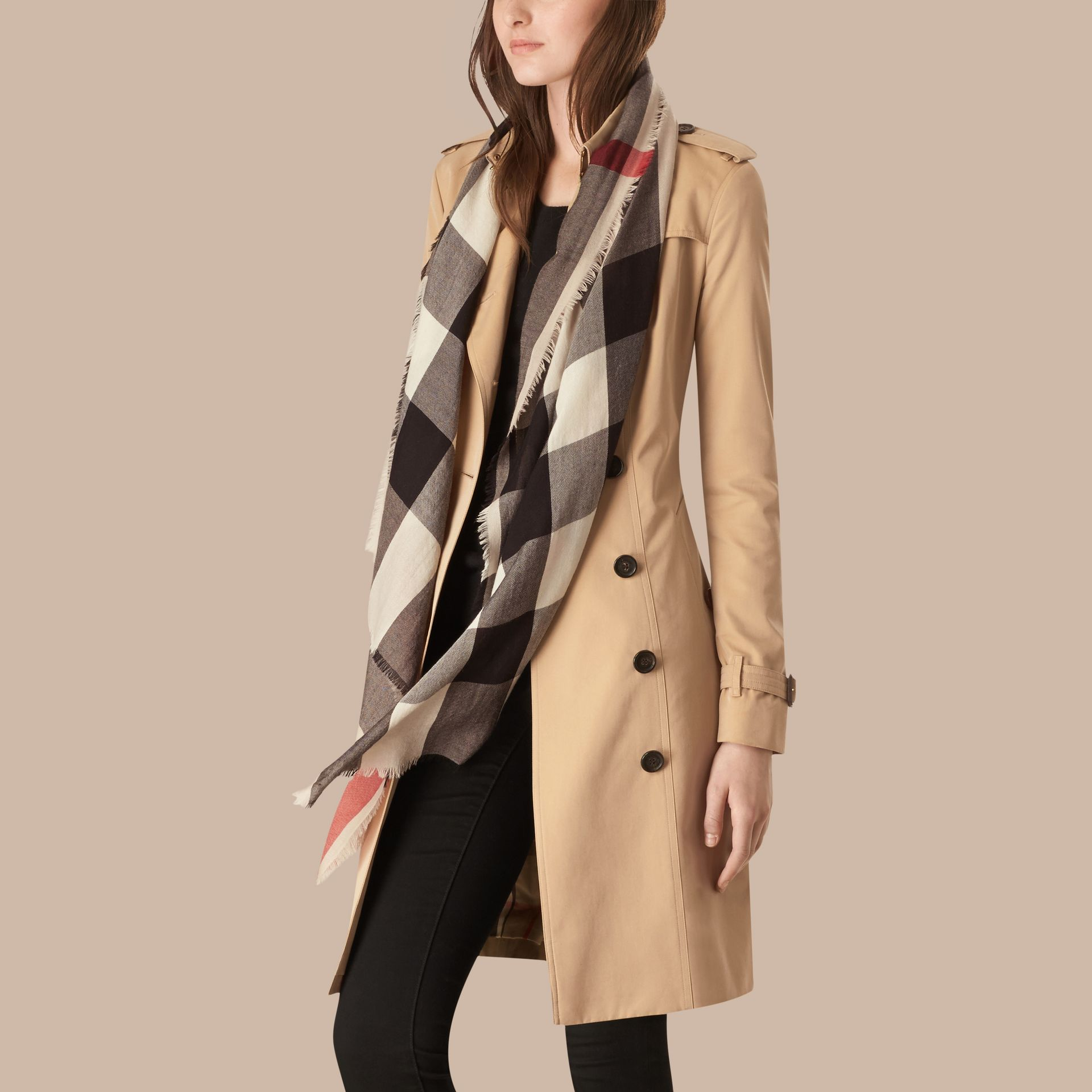 Stone The Lightweight Cashmere Scarf in Check Stone - gallery image 3