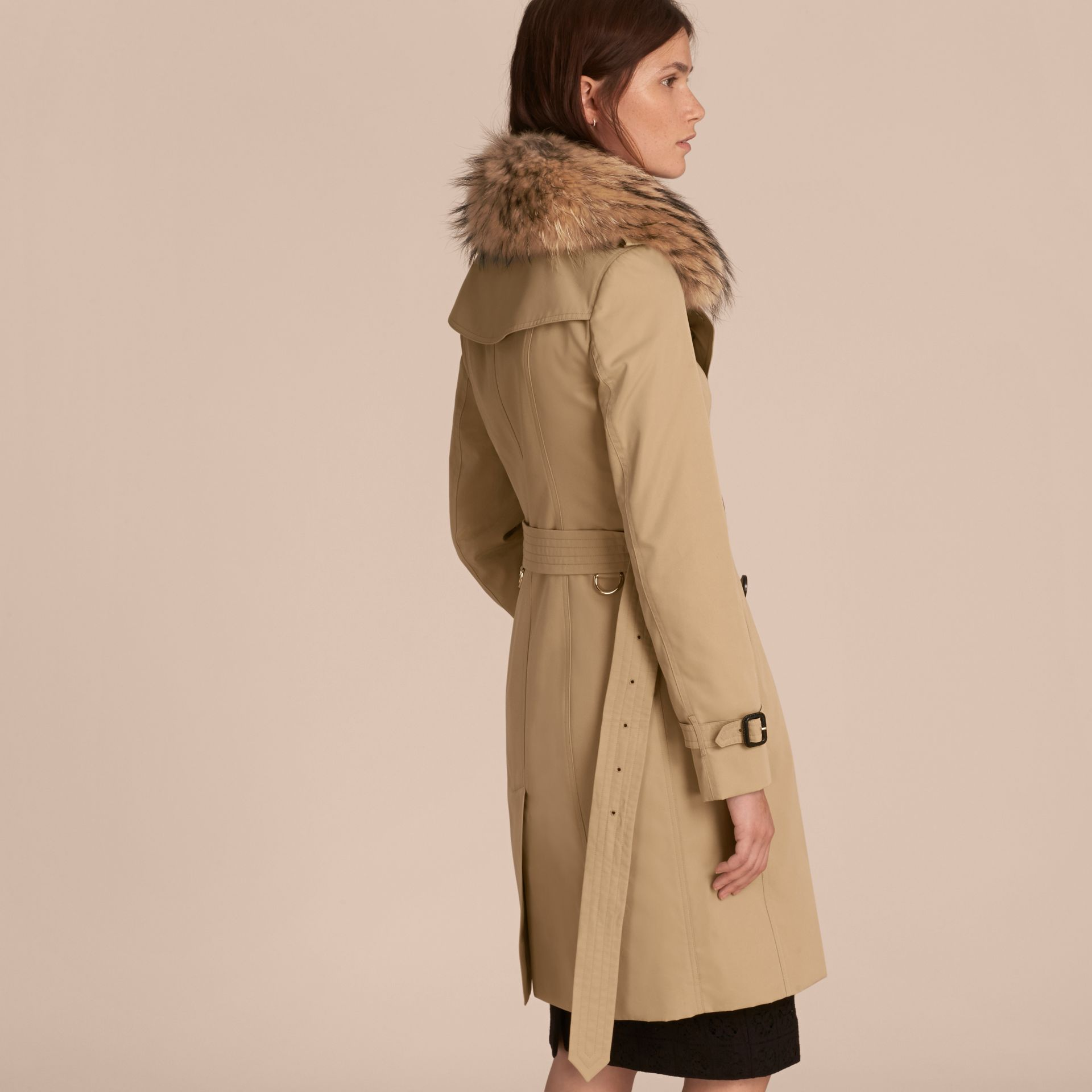 Honey Cotton Gabardine Trench Coat with Detachable Fur Trim Honey - gallery image 3