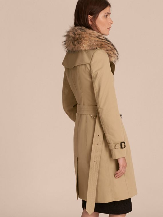 Honey Cotton Gabardine Trench Coat with Detachable Fur Trim Honey - cell image 2