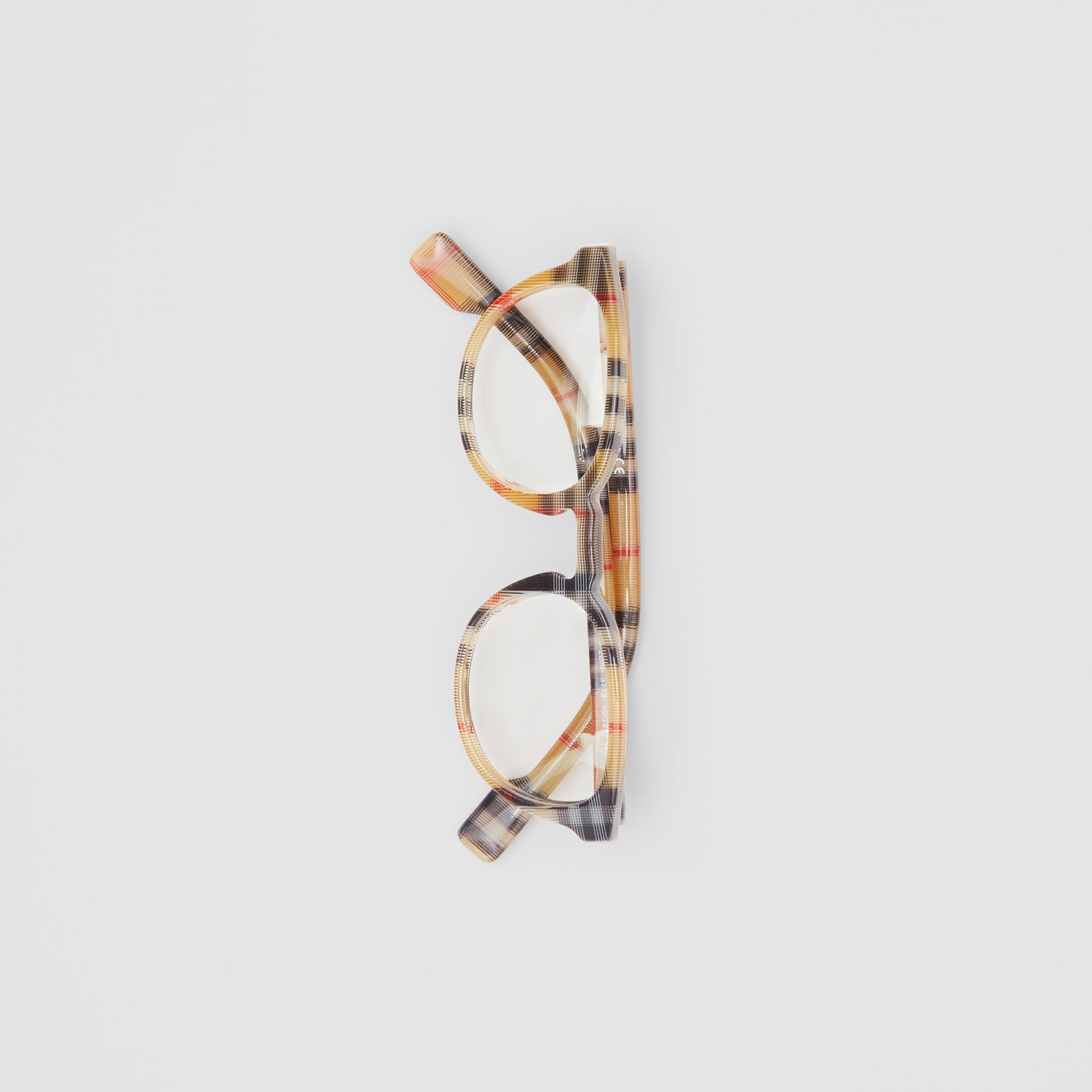 Vintage Check Round Optical Frames in Antique Yellow - Men | Burberry - gallery image 3