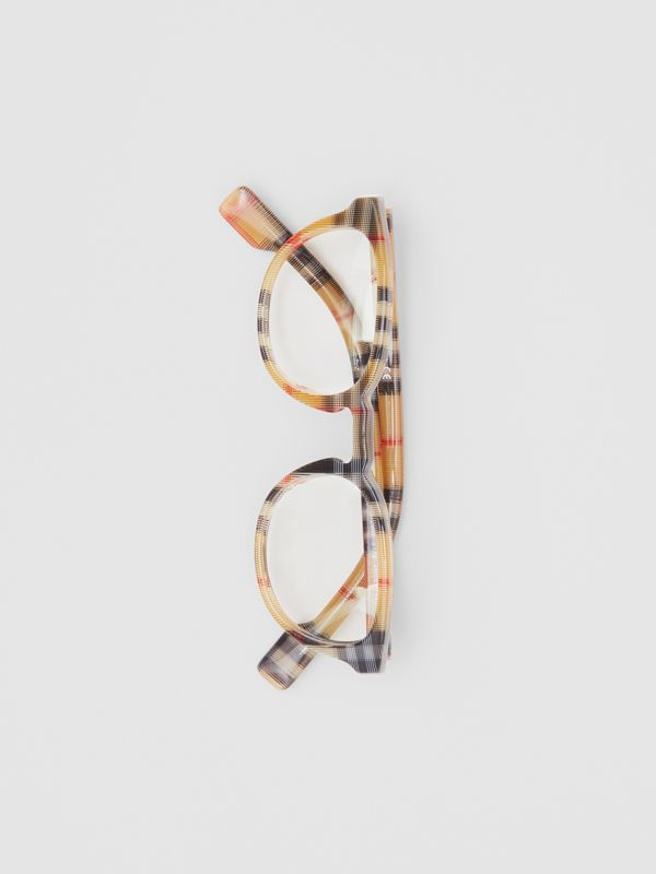 Vintage Check Round Optical Frames in Antique Yellow - Men | Burberry United States - cell image 3