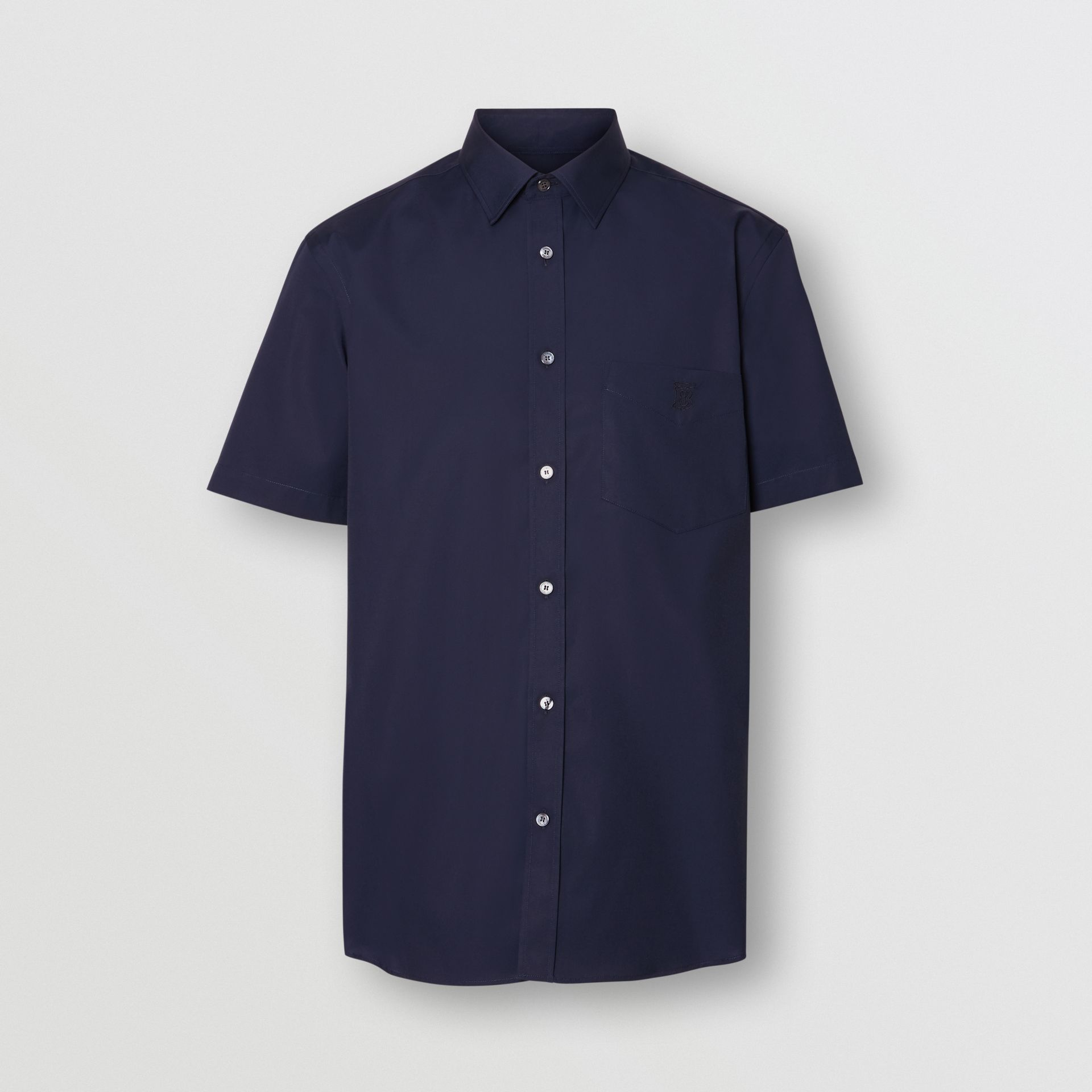 Short-sleeve Monogram Motif Stretch Cotton Shirt in Navy - Men | Burberry Hong Kong - gallery image 3