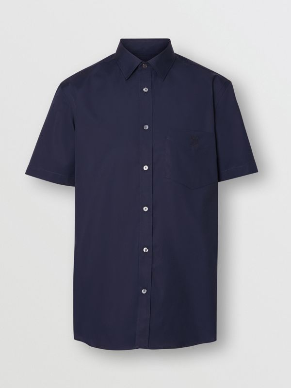 Short-sleeve Monogram Motif Stretch Cotton Shirt in Navy - Men | Burberry - cell image 3