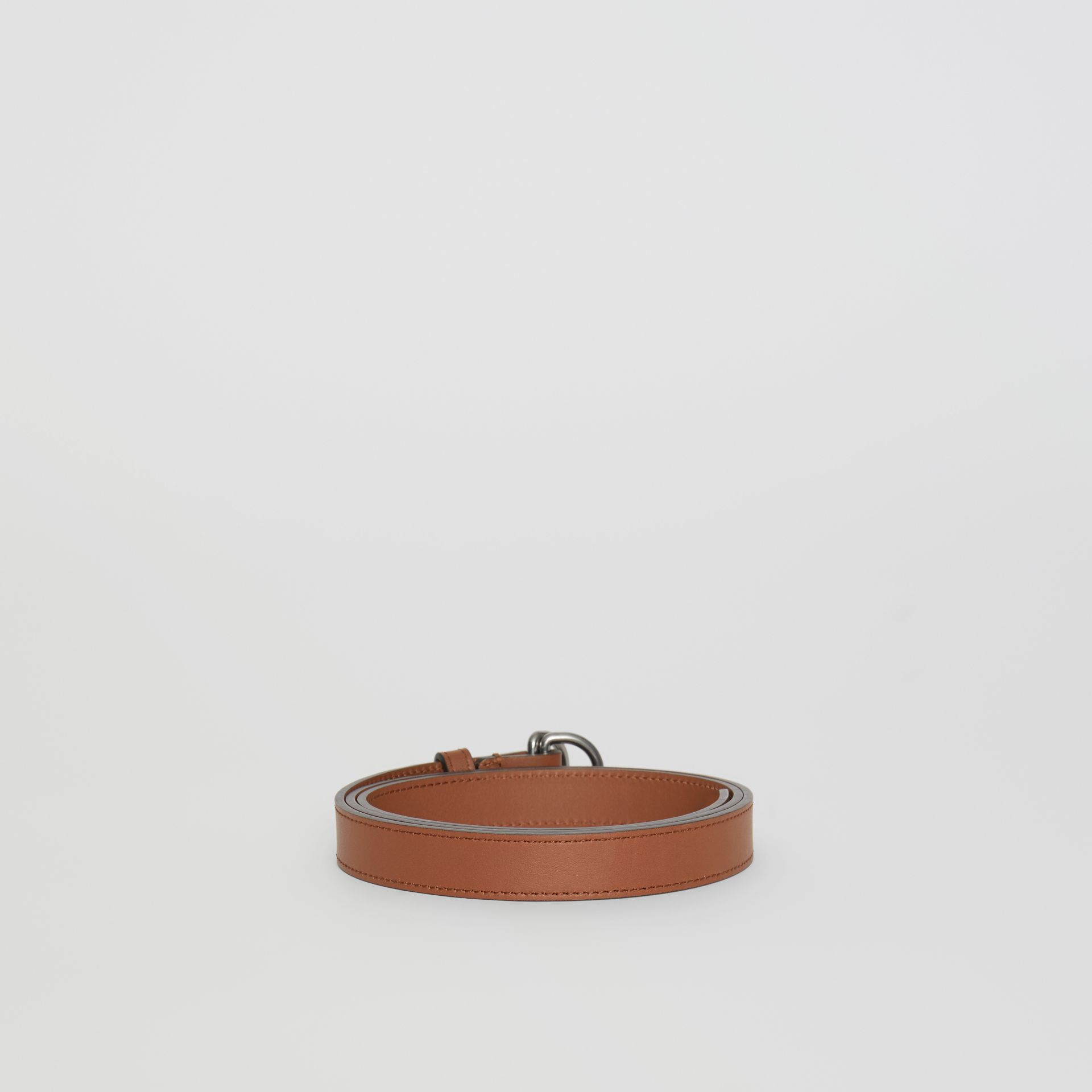 Slim Leather Double D-ring Belt in Tan/natural Silver - Women | Burberry - gallery image 4