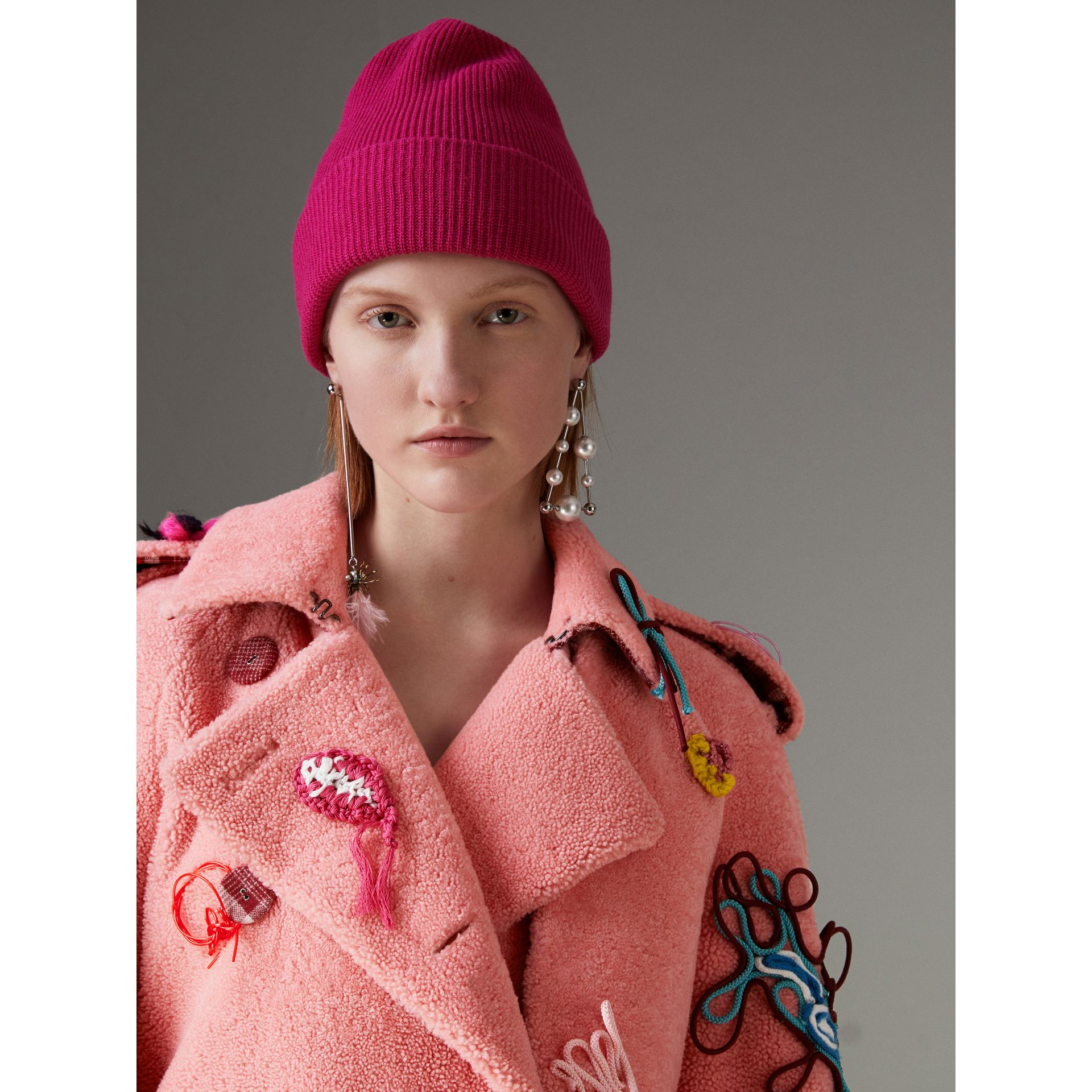 Embellished Shearling Trench Coat in Bright Pink - Women | Burberry - gallery image 1