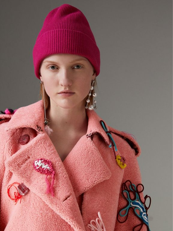 Embellished Shearling Trench Coat in Bright Pink - Women | Burberry - cell image 1