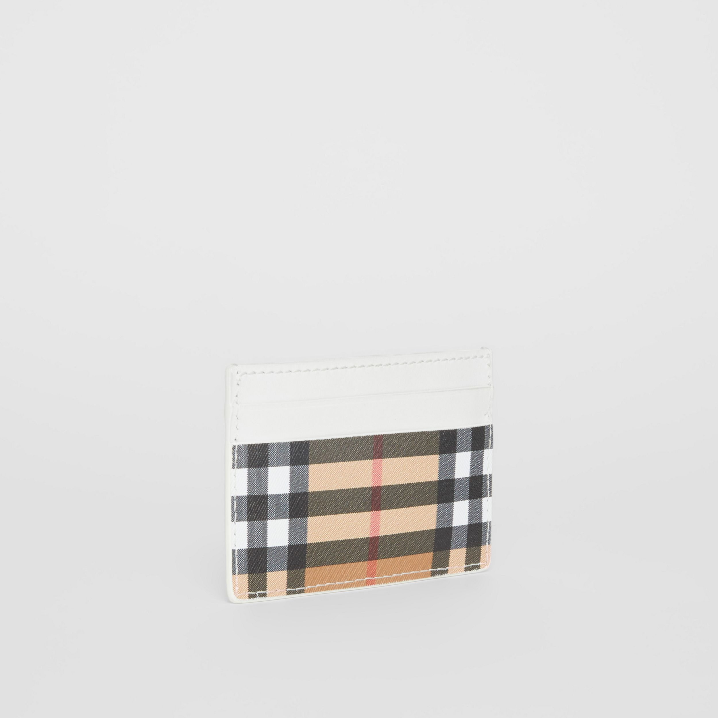 Vintage Check and Leather Card Case in Chalk White - Women | Burberry - 4