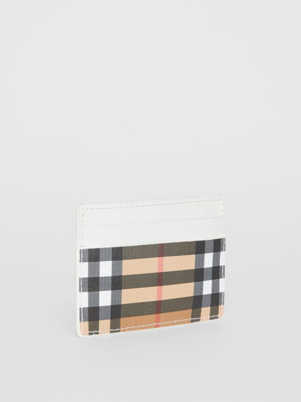 Vintage Check and Leather Card Case in Chalk White | Burberry Australia - cell image 3