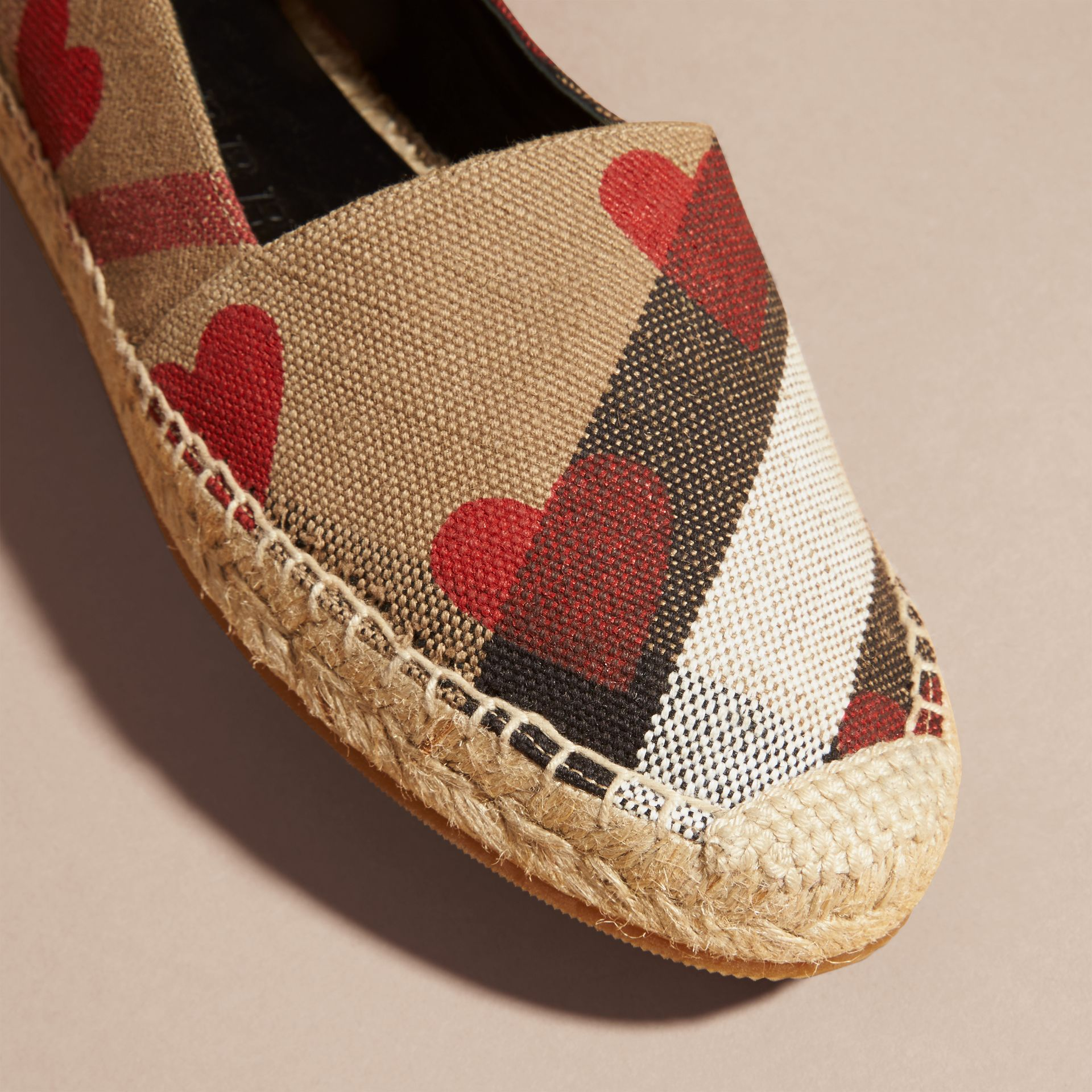 House check/parade red Heart and Canvas Check Espadrilles - gallery image 2