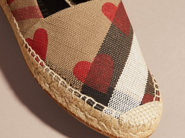 House check/parade red Heart and Canvas Check Espadrilles - cell image 1