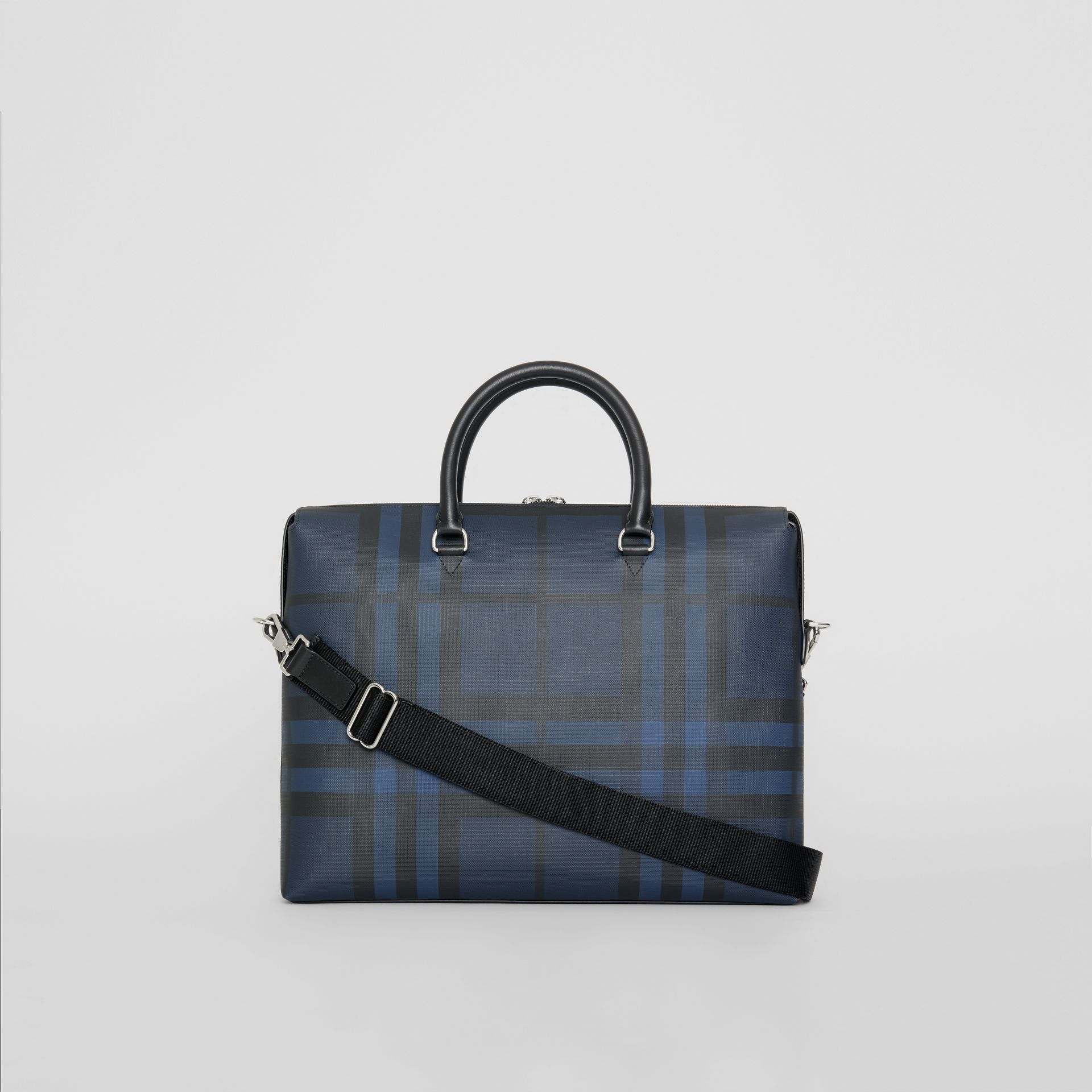 London Check and Leather Briefcase in Navy/black - Men | Burberry Singapore - gallery image 5