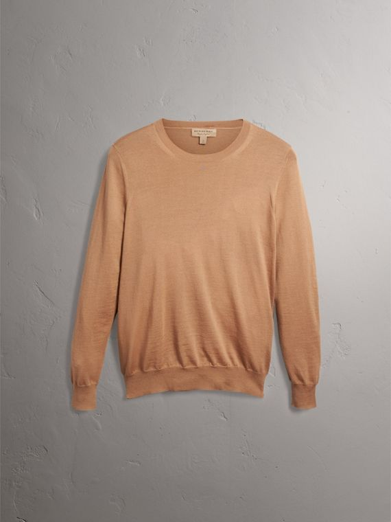 Check Detail Merino Wool Crew Neck Sweater in Camel - Women | Burberry - cell image 3