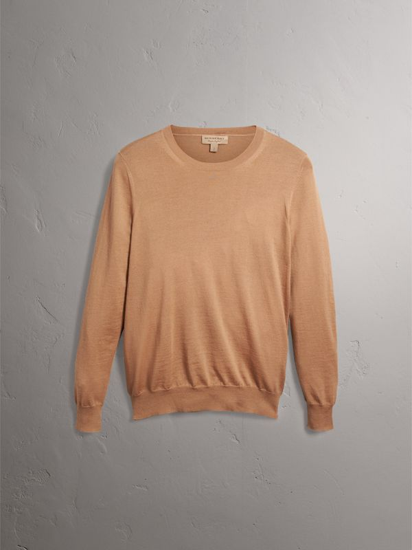 Check Detail Merino Wool Crew Neck Sweater in Camel - Women | Burberry United Kingdom - cell image 3