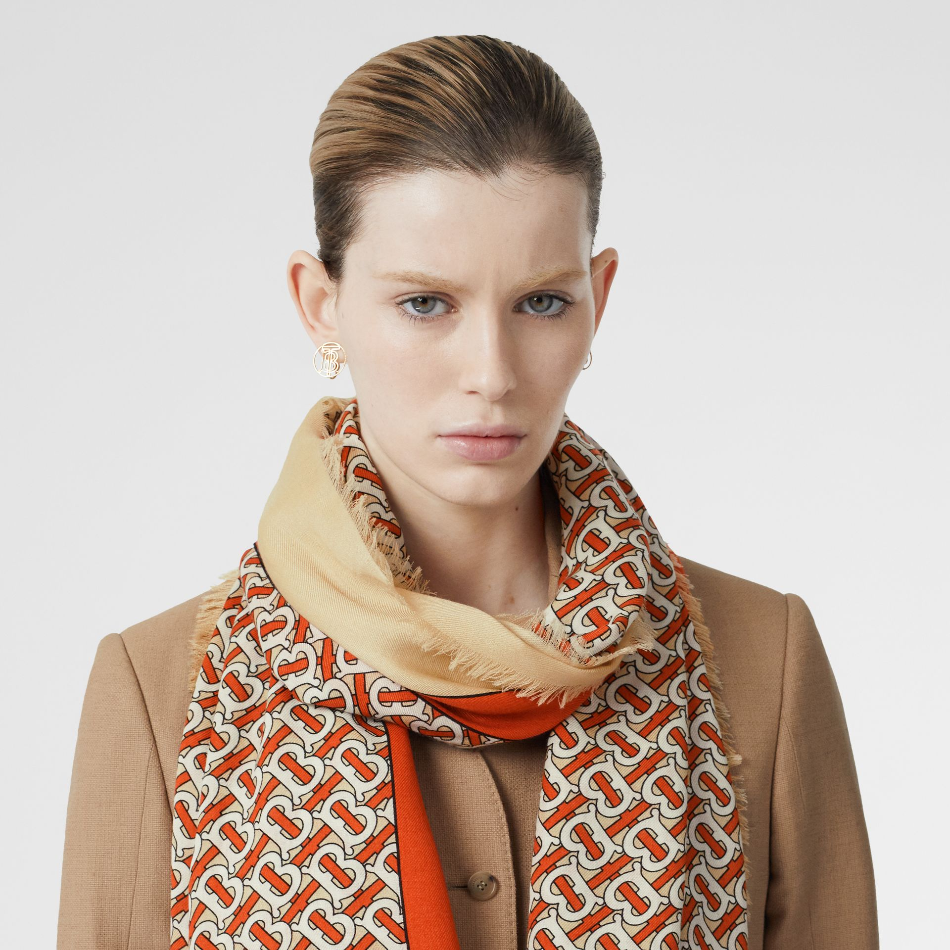 Monogram Print Lightweight Cashmere Scarf in Vermilion | Burberry United Kingdom - gallery image 2