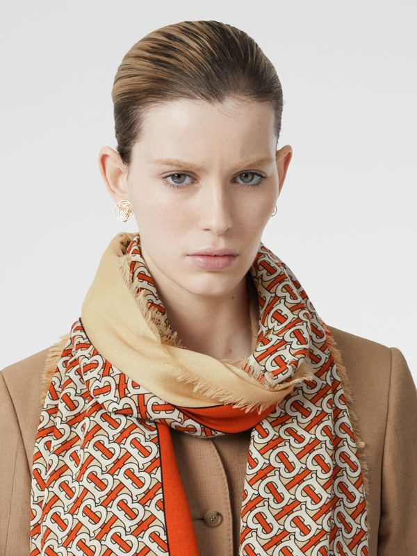 Monogram Print Lightweight Cashmere Scarf in Vermilion | Burberry United Kingdom - cell image 2