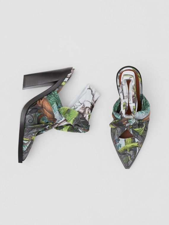 Scarf Tie Detail Monkey Print Point-toe Mules in Opal Green