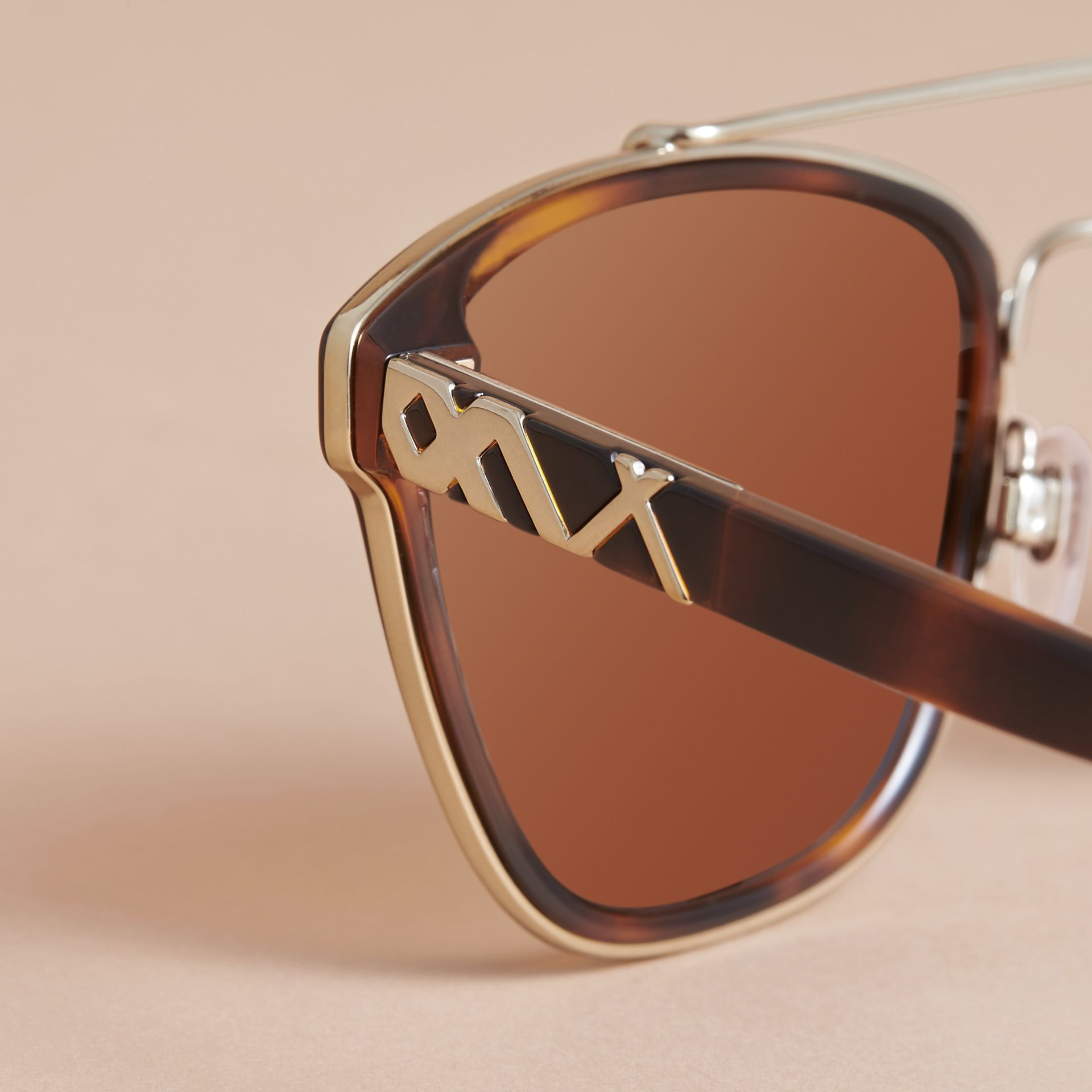 Top Bar Square Frame Sunglasses in Tortoiseshell - gallery image 2