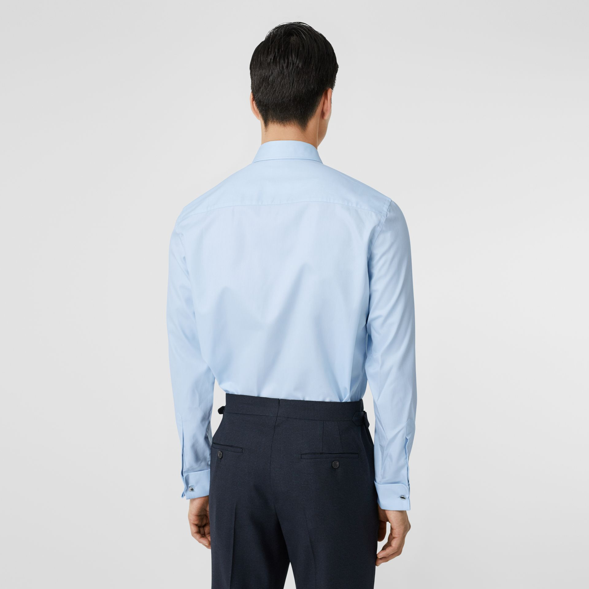 Classic Fit Monogram Motif Cotton Oxford Shirt in Pale Blue - Men | Burberry - gallery image 2