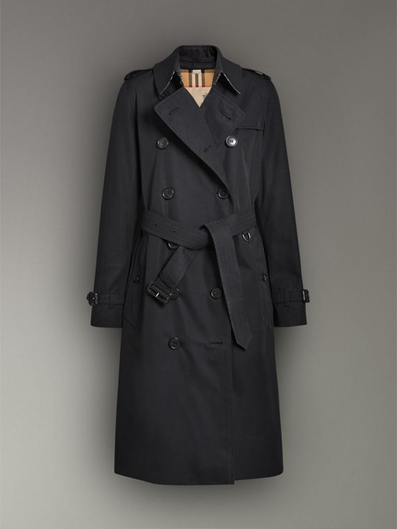 The Long Kensington Heritage Trench Coat in Midnight - Women | Burberry Singapore - cell image 3