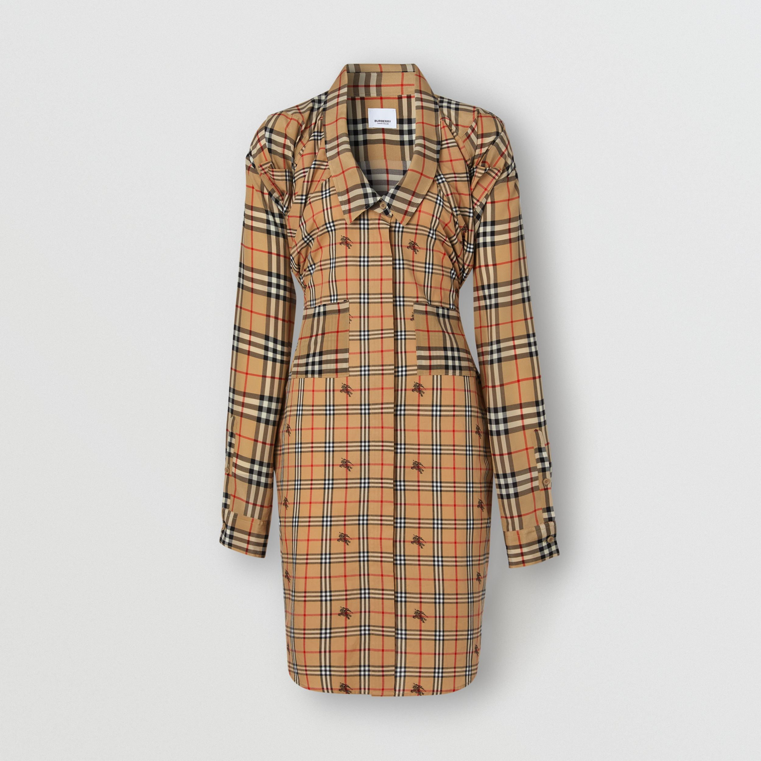 Vintage Check Silk and Cotton Shirt Dress in Archive Beige - Women | Burberry - 4
