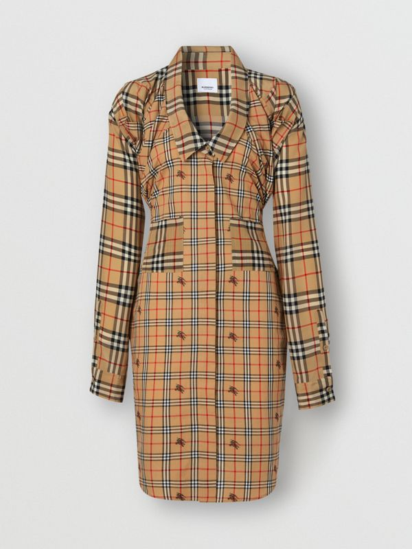 Vintage Check Silk and Cotton Shirt Dress in Archive Beige - Women | Burberry - cell image 3