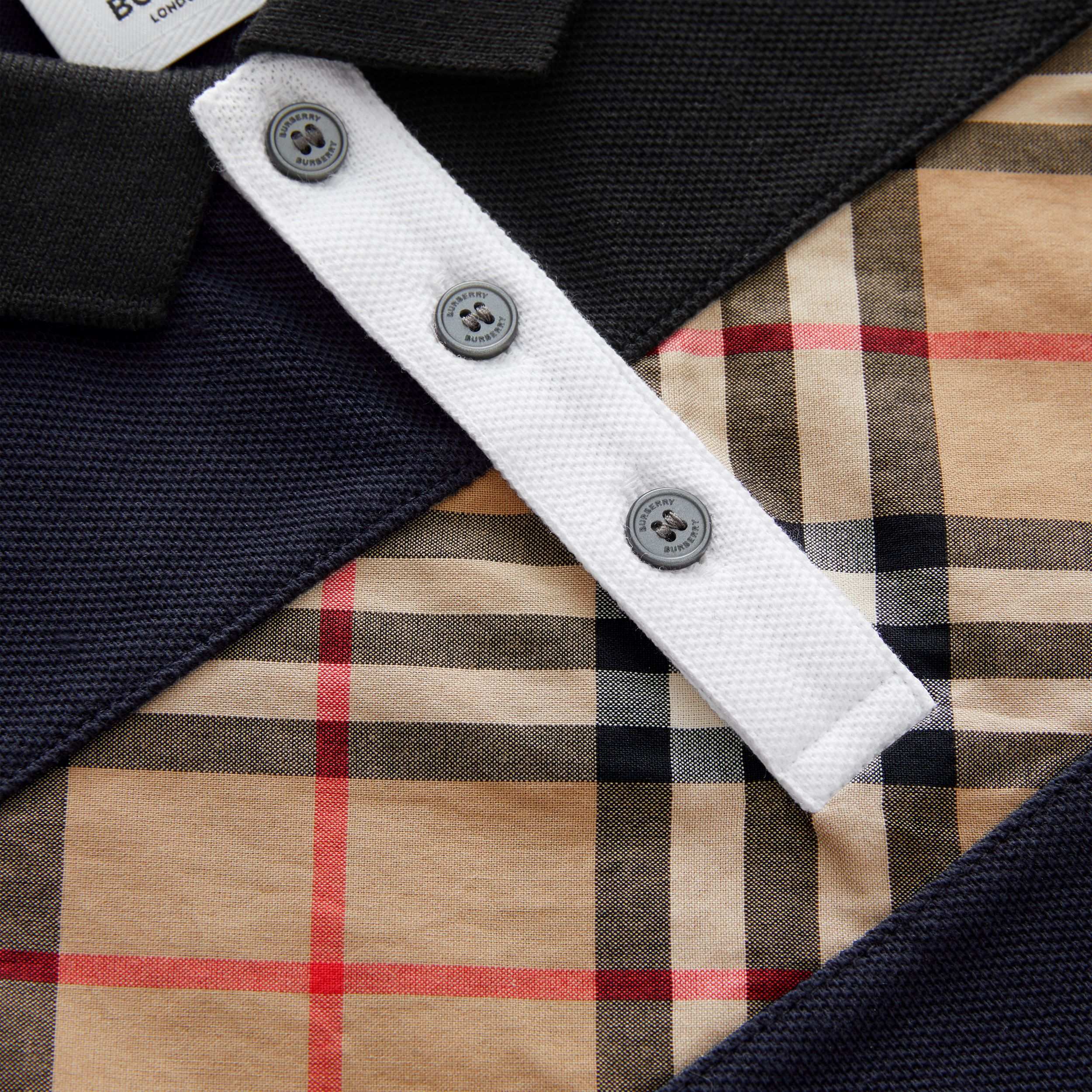 Vintage Check Panel Cotton Polo Shirt in Navy | Burberry - 2