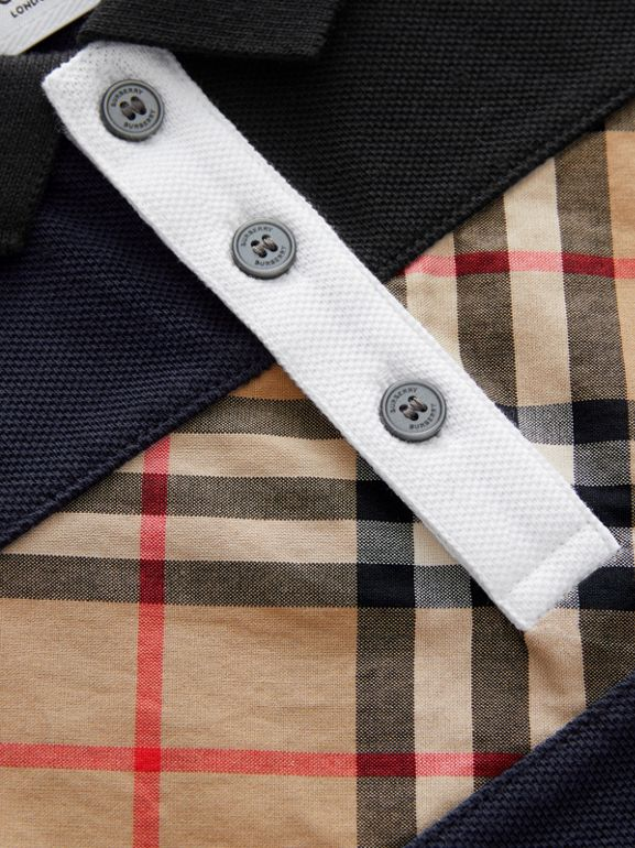 Vintage Check Panel Cotton Polo Shirt in Navy | Burberry United States - cell image 1