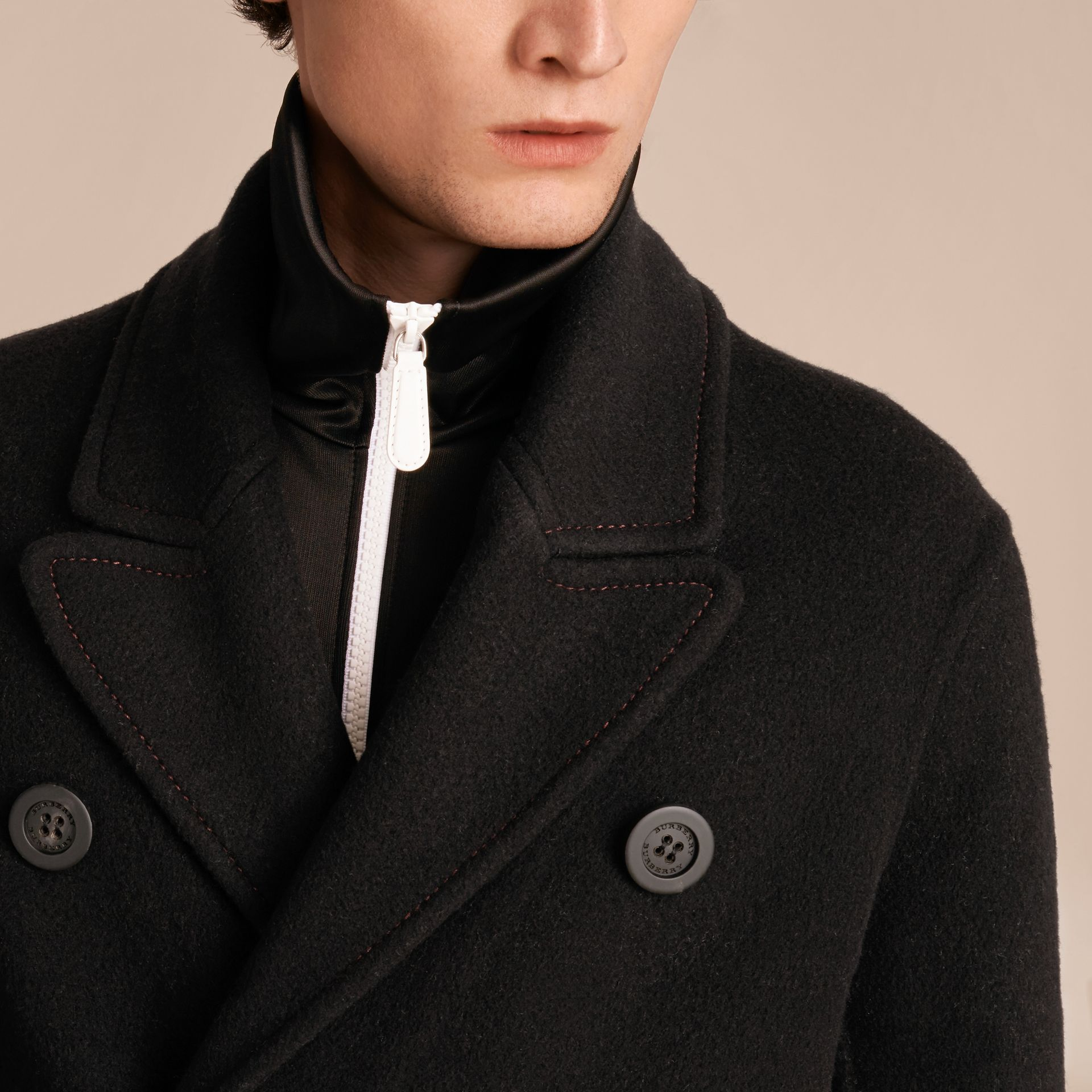 Black Double-breasted Check-lined Wool Cashmere Coat - gallery image 6