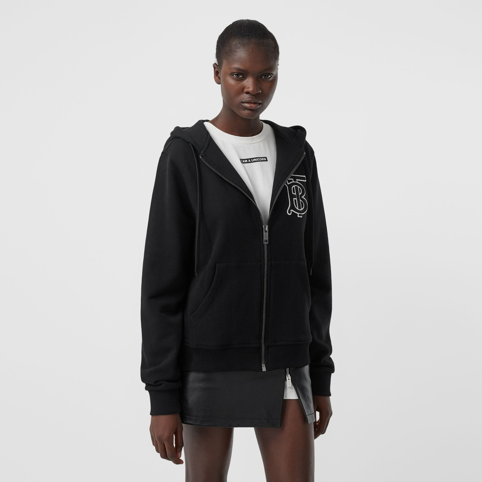 Monogram Motif Cotton Oversized Hooded Top in Black - Women | Burberry - gallery image 4