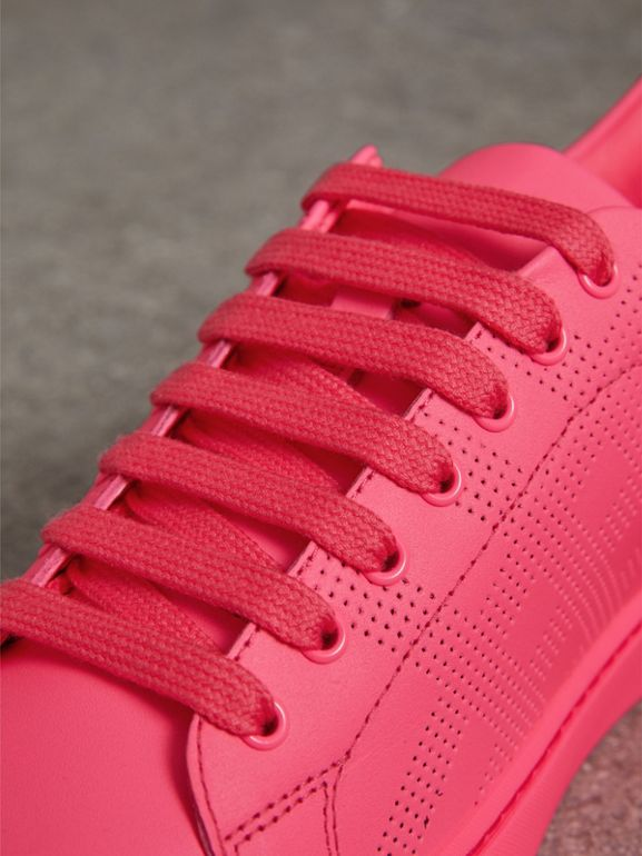 Perforated Check Leather Sneakers in Neon Pink - Women | Burberry - cell image 1