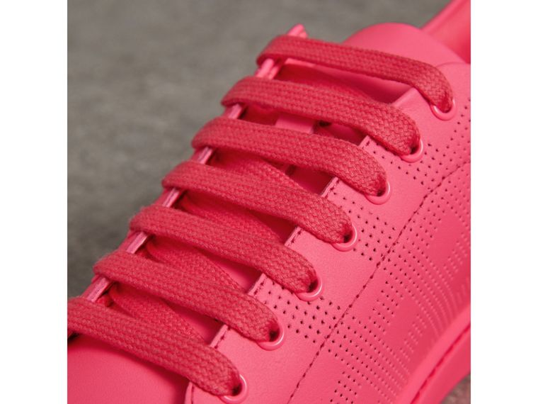 Perforated Check Leather Sneakers in Neon Pink - Women | Burberry United States - cell image 1