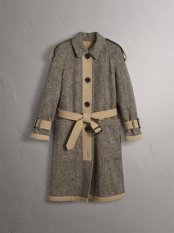 Reversible Donegal Tweed and Gabardine Trench Coat in Natural White/black - Women | Burberry - cell image 3