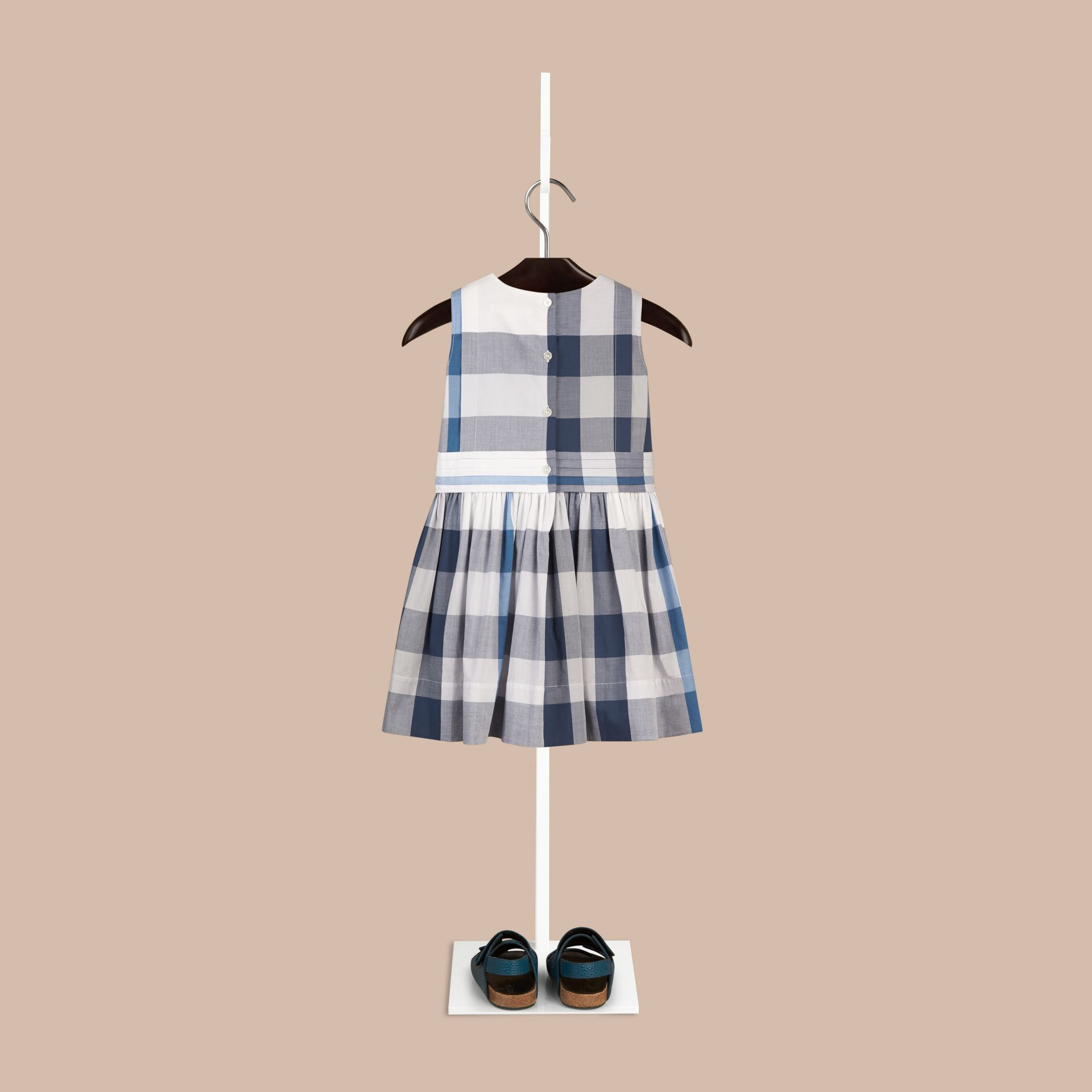 Ink blue Sleeveless Check Cotton Dress Ink Blue - gallery image 2