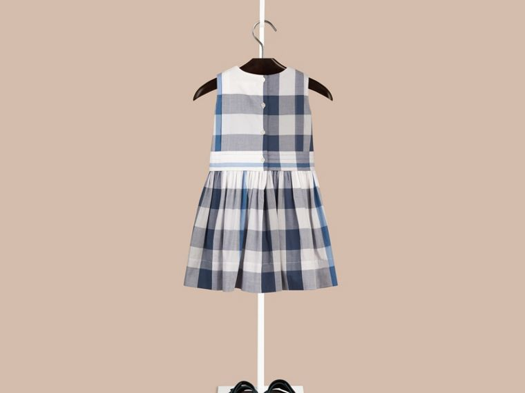 Ink blue Sleeveless Check Cotton Dress Ink Blue - cell image 1