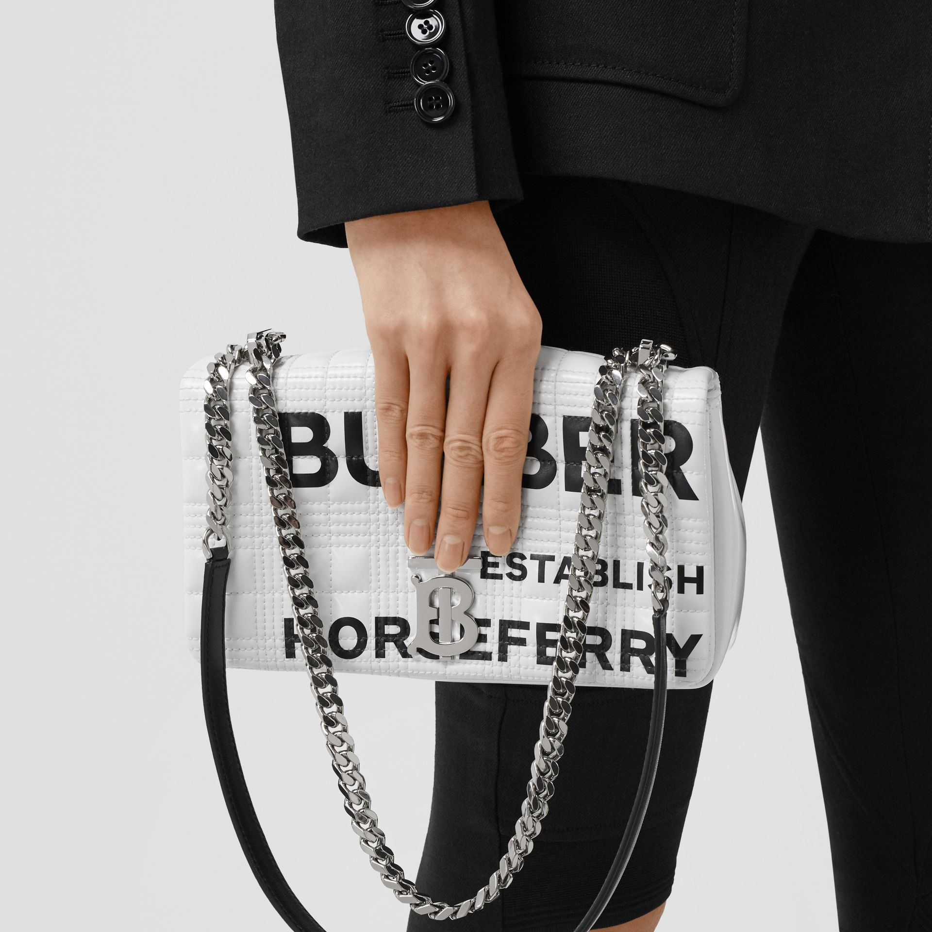 Small Horseferry Print Quilted Lola Bag in White | Burberry United Kingdom - gallery image 2