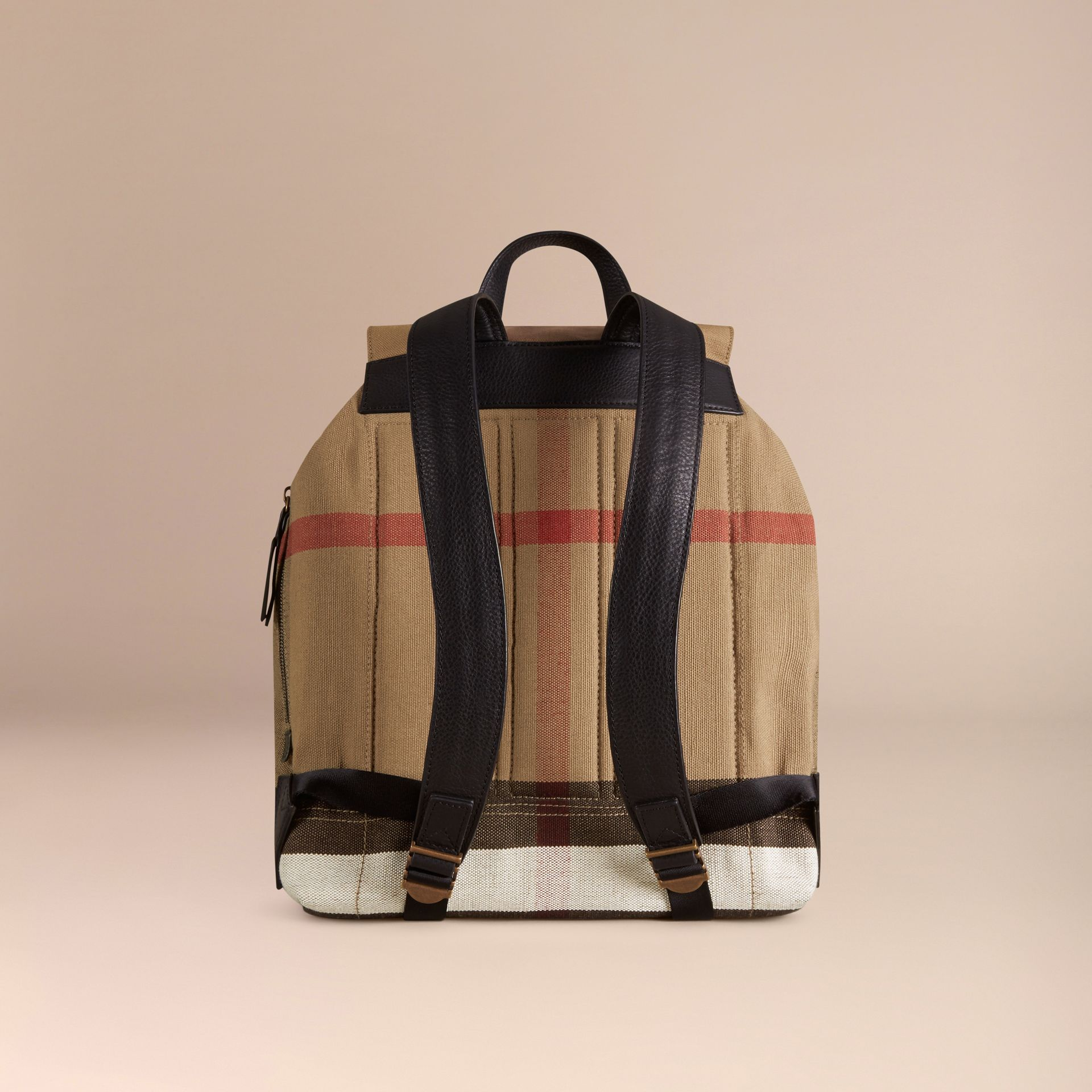 Black Canvas Check Backpack - gallery image 4