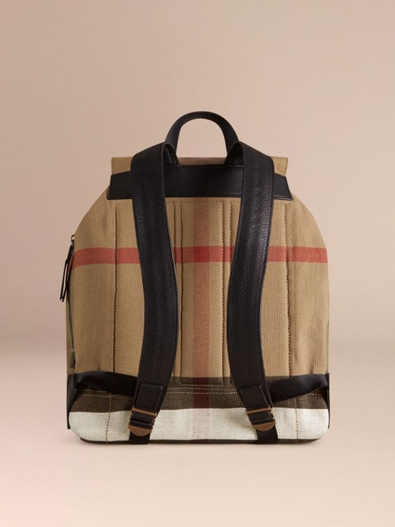 Black Canvas Check Backpack - cell image 3