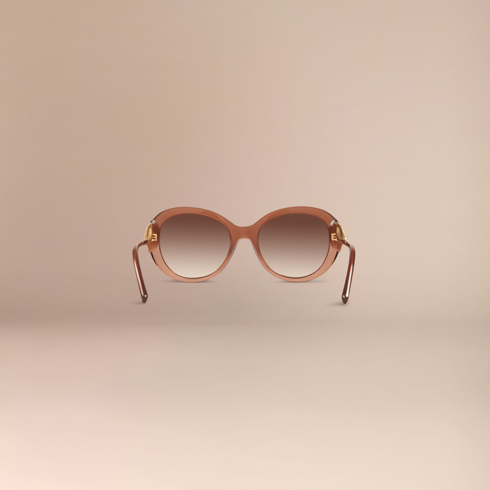 Oversize Round Frame Sunglasses in Fawn Pink - Women | Burberry - gallery image 4