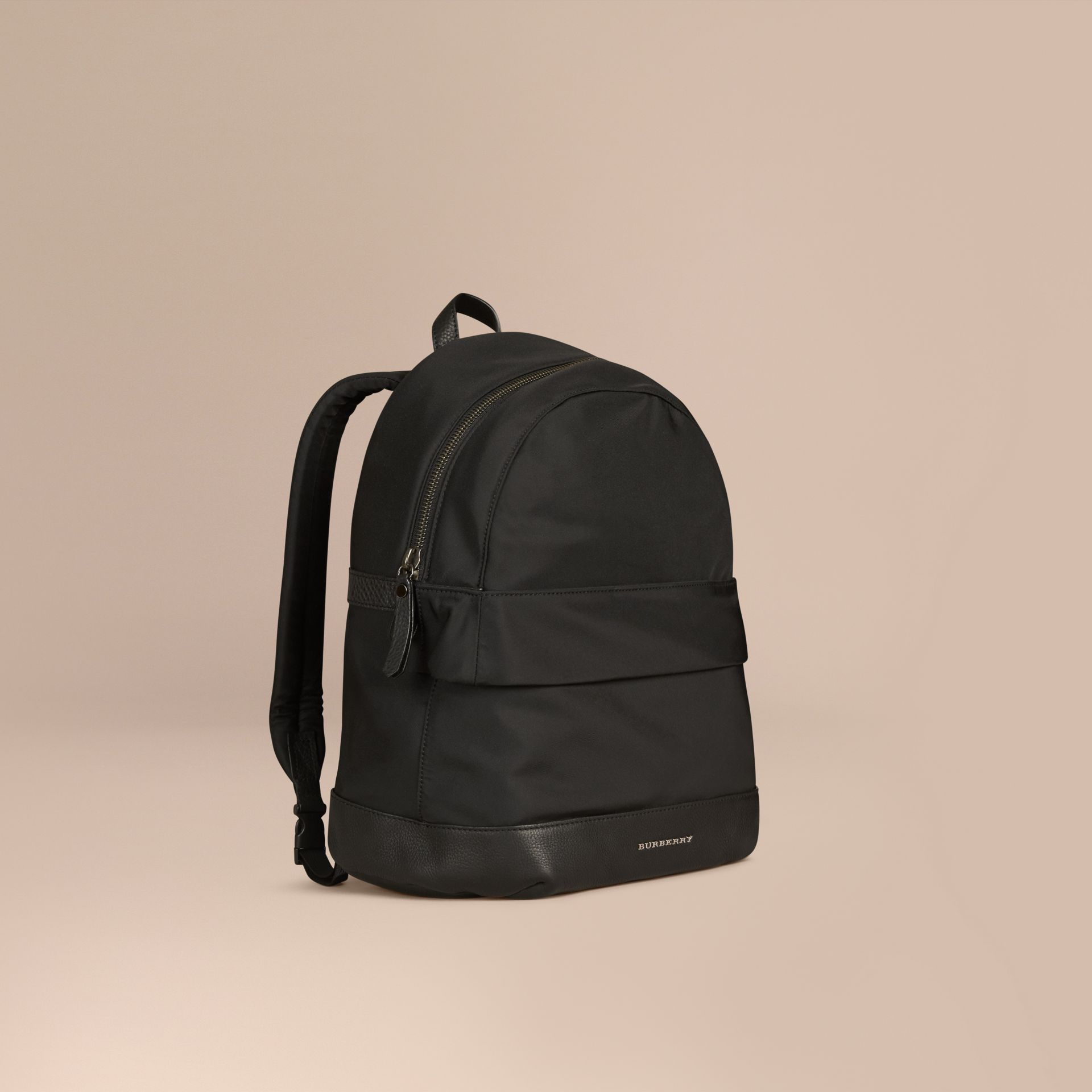 Black Leather Detail Nylon Backpack - gallery image 1