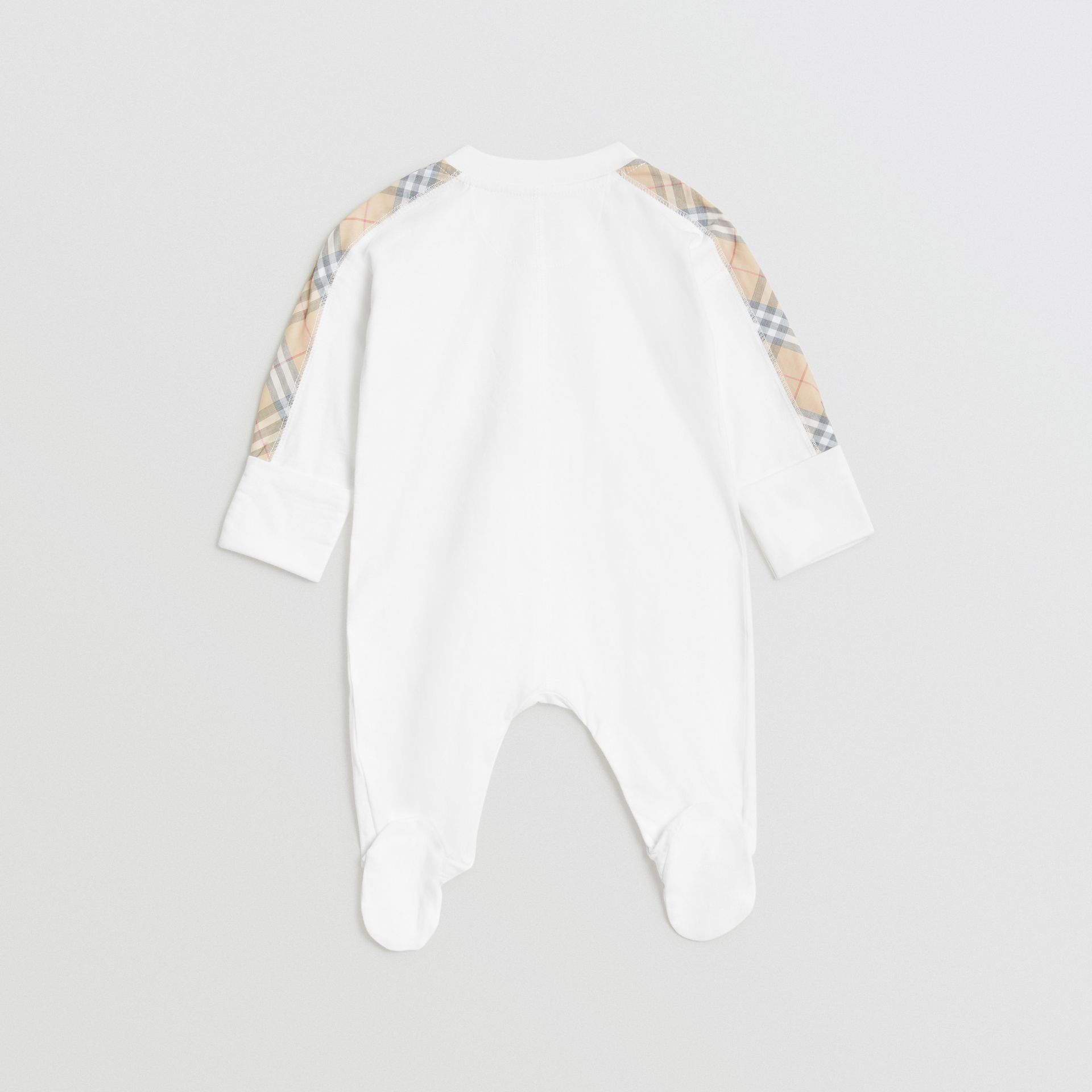 Check Cotton Three-piece Baby Gift Set in White - Children | Burberry Canada - gallery image 3