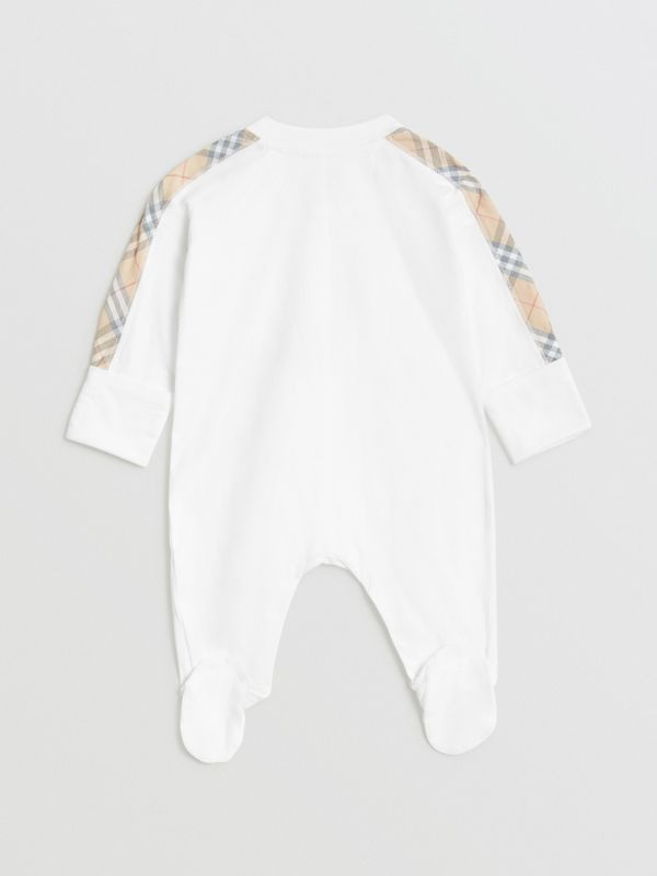 Check Cotton Three-piece Baby Gift Set in White - Children | Burberry United Kingdom - cell image 3